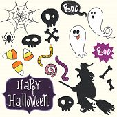 stock photo of skull cross bones  - Set of hand drawn halloween doodles with cartoon ghosts - JPG