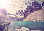 Vintage Photo Of Torres Del Paine National Park, Patagonia, Chile