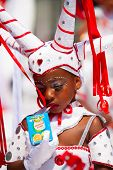 Rotterdam, the Netherlands - July 19, 2014, Young carnival dancer in the parade at the Caribbean Car