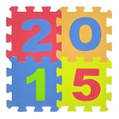 2015 written with jigsaw puzzle pieces isolated