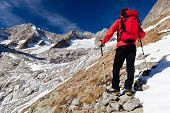 Back view of a young male hiker while observing a high mountain panorama. Standing position, red jacket, black pant. Triolet glacier, Mount Blanc massif, Italy, Europe.