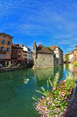 ANNECY, FRANCE - SEPTEMBER 17, 2012: Charming old town of Annecy in Provence. Bastion- prison turned