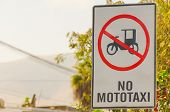 MOLLENDO, PERU, MAY 20, 2014 - Traffic sign prohibiting mototaxi driving