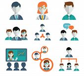 Flat modern human resources and management icons set