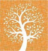 White Tree icon on Orange Canvas texture