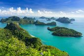 stock photo of thong  - Sea beach island sky with bird eye view at Mu Ko Ang Thong - JPG