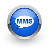 mms blue glossy web icon