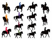 stock photo of horse-riders  - Horse rider vector silhouettes set - JPG