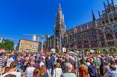 MUNICH, GERMANY - 19 JUNE 2014: People at the New Town Hall on the Feast of Corpus Christi,  Munich,