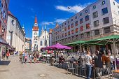 MUNICH, GERMANY - 19 JUNE 2014: People on the streets of Munich, Germany. Munich is the capital and