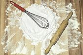 Flour, Whisk And Rolling Pin
