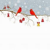 picture of christmas bells  - Christmas greeting card a branch with birds and bells - JPG