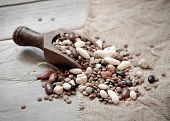 Legumes Mix In The Wood Spoon
