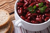 Red Kidney Beans In A Bowl And Bread Horizontal Top View
