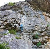 Male climber on a rock
