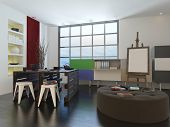 Artists drawing room or design studio interior with storage units on the walls, a round low upholste