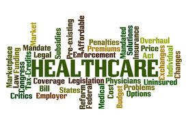 stock photo of overhauling  - Healthcare Word Cloud on White Background - JPG