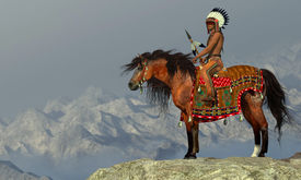stock photo of appaloosa  - An American Indian sits on his Appaloosa horse on a high cliff in a desert area - JPG