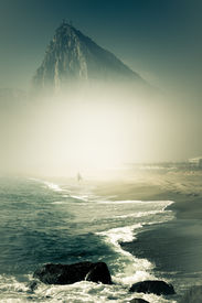 picture of gibraltar  - The Rock of Gibraltar. Abstract creative photo of Gibraltar Rock during foggy day. ** Note: Soft Focus at 100%, best at smaller sizes - JPG