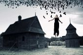 foto of horror  - Witch floating in the air - JPG