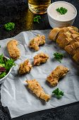 foto of endive  - Salmon in herb batter with spicy dressing  - JPG