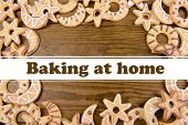 Delicious Christmas cookies on wooden background, Baking at home concept
