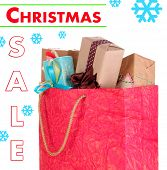 Presents in paper bag isolated on white, Christmas Sale concept