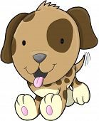 stock photo of spotted dog  - Cute Puppy Dog Vector Illustration Art - JPG