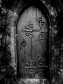 Gothic Door with Black Smoke