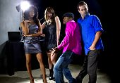 stock photo of interrupter  - male and women rudely interrupted by a flirting pickup artist at a bar - JPG