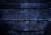 Old  Dark Blue   Grunge Wood Background With Knots And Scratches. Rustic Weathered Wooden  Plank Tex