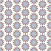 Dark Blue Abstract Blossom And Arrow Shape Seamless Pattern