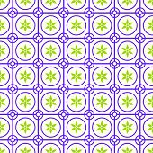 stock photo of symmetry  - Purple Vintage blossom and circle and hexagon and rectangle seamless pattern on pastel background - JPG