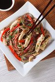 Yakisoba With Chicken And Vegetables  Close-up Top View Vertical