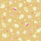 foto of cupcakes  - Seamless pattern of tea set and cupcakes  - JPG