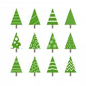 Abstract ornamented christmas trees collection. Design elements