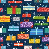 Different color gift boxes seamless background. Design elements