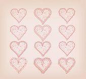 hearts doodle frame set for wedding and valentine design