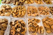 stock photo of phyllo dough  - group of Arabic sweets at a market in jerusalem - JPG