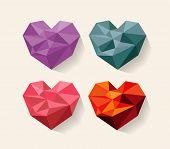 geometrical heart. love. Set of design elements