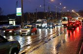 Street In Rainy Evening In Moscow