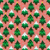 stock photo of christmas theme  - Christmas theme pine tree in pink background seamless pattern - JPG