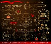Christmas decoration collection . Set of calligraphic and typographic elements