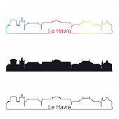 Le Havre Skyline Linear Style With Rainbow