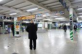 People Enter Shin-osaka Train Station In Osaka, Japan