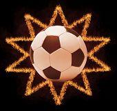 Football ball in firestar frame on black background, sports poster