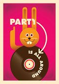 Party poster with comic bunny. Vector illustration.