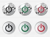 Set of shiny power buttons