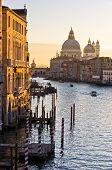 Grand Canal and Santa Maria della Salute church at sunrise in Venice