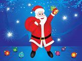 Abstract Blue Christmas Background Wtih Santa
